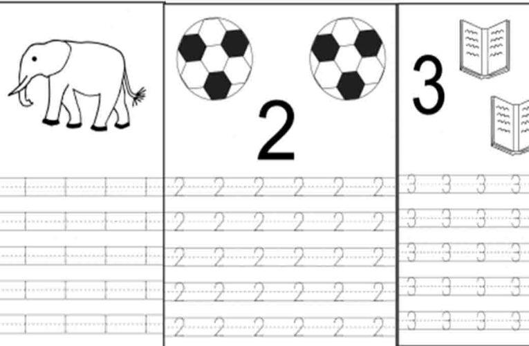 แบบฝึกหัดคัดลายมือ ตัวเลขอารบิก 1-10 ฝึกลากเส้นประ และมีตัวการ์ตูนให้นับเลขตามและระบายสี
