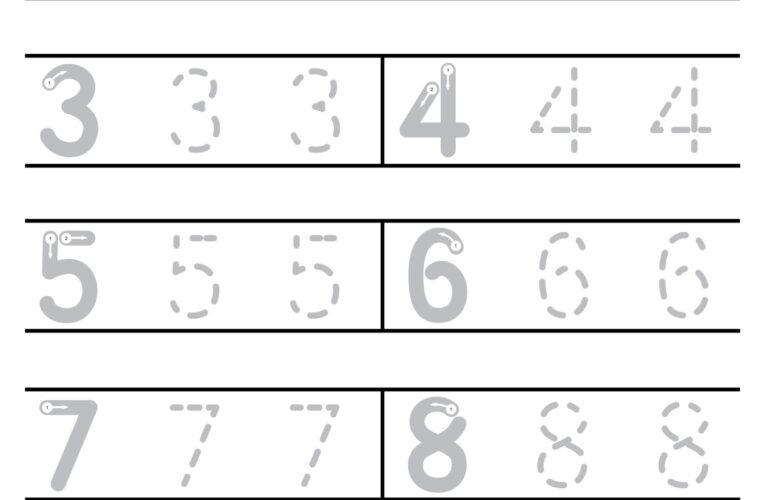 แบบฝึกหัดคัดลายมืออนุบาล คัดลายมือตัวเลขอารบิก ลากเส้นประ 1-100 และเติมตัวเลขที่หายไป